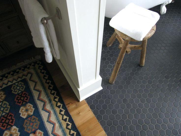 Matte Black Hex Tile Bathroom Floor No Threshold Bathing Area Two