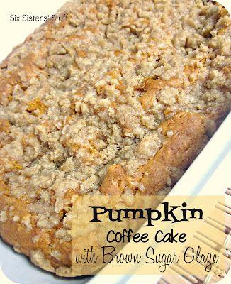 Six Sisters' Stuff: Pumpkin Coffee Cake with Brown Sugar Glaze RecipePumpkin Coffee Cake, Coffee Cakes, Brown Sugar, Yellow Cake, Cake Mixed, Glaze Recipe, Six Sisters Stuff, Pumpkin Pies, Sugar Glaze