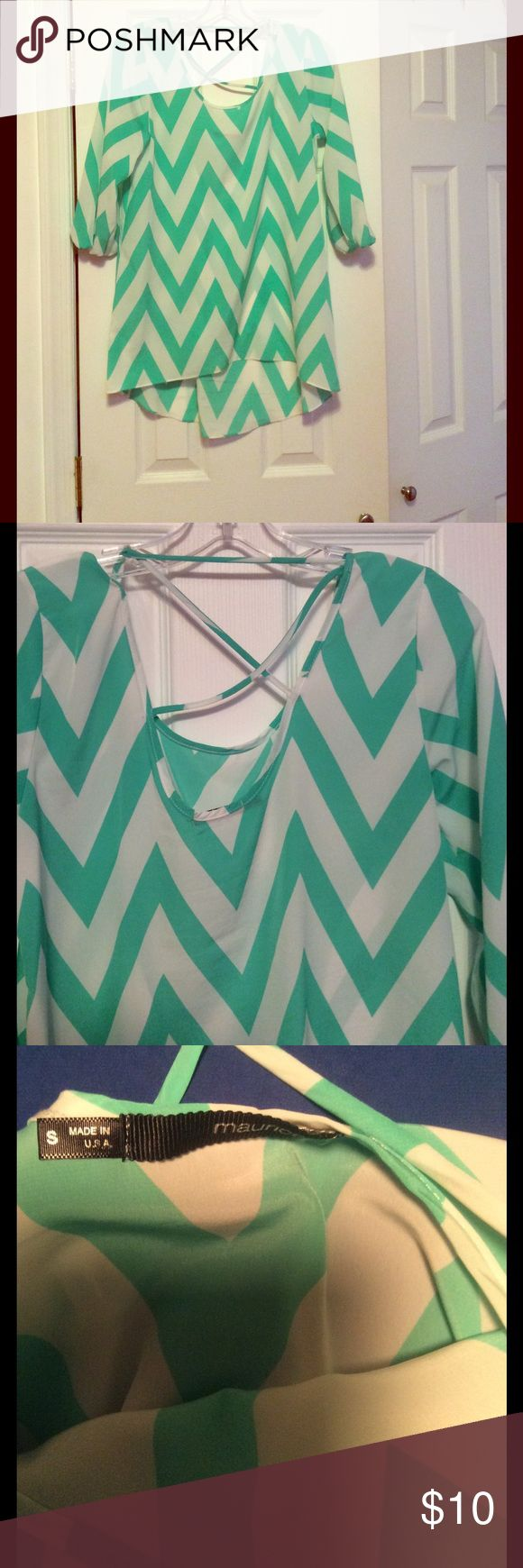 Super cute Chevron shirt!! White and mint green chevron. Polyester material. Runs big for a small. Back is slightly longer. Maurices Tops Blouses