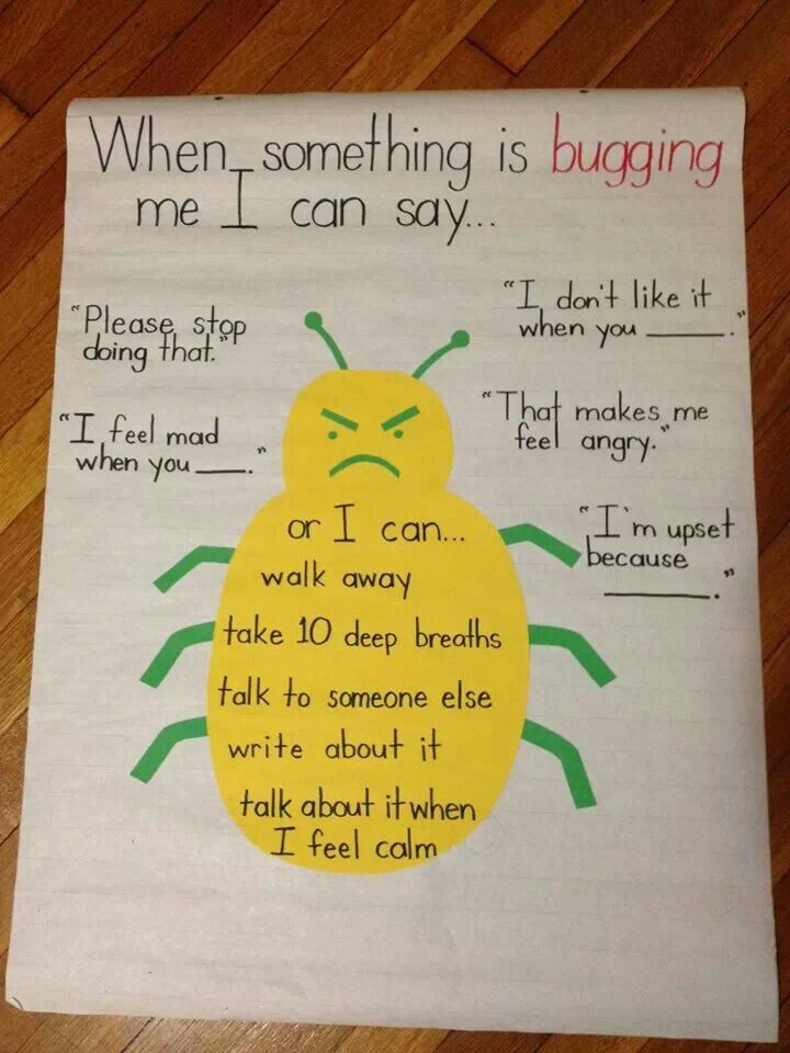 "Conflict resolution strategies - anchor chart with cute bug for when something is ""bugging"" you"