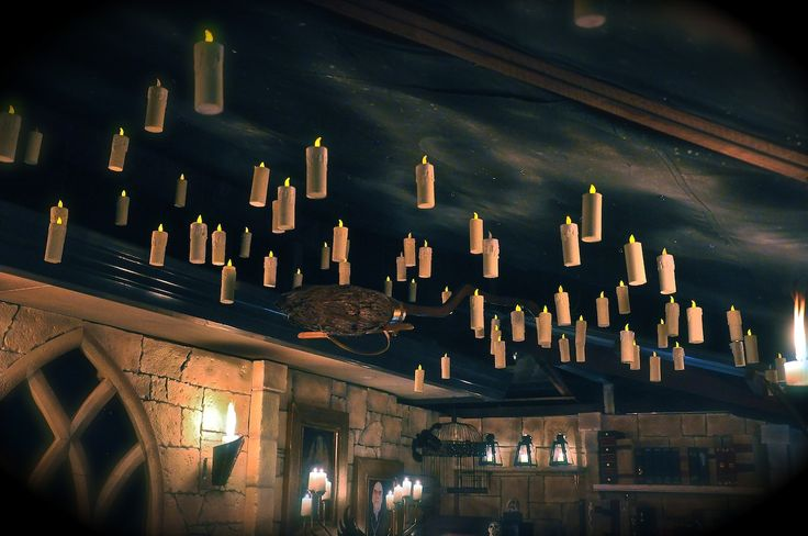How to make suspended floating candles beneath a night sky - would look amazing in a front entry or down a hallway.