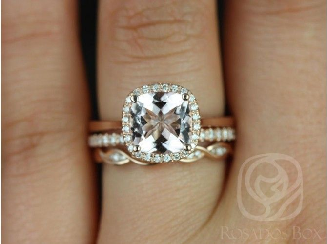 Rosados Box Roxie 8mm and Ember Rose Gold Cushion Morganite and Diamonds Halo TRIO Wedding Set