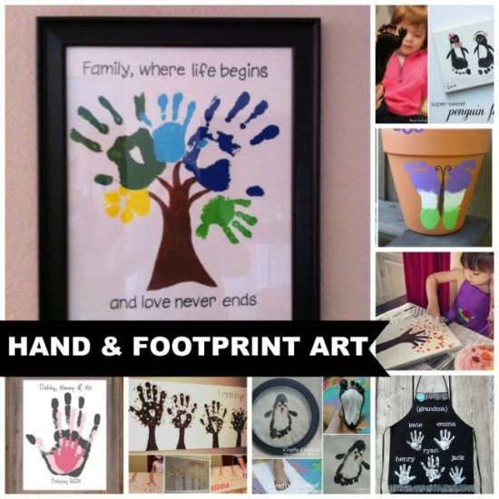 Hand and Footprint Art Ideas- some good ideas for crafts with grandkids.