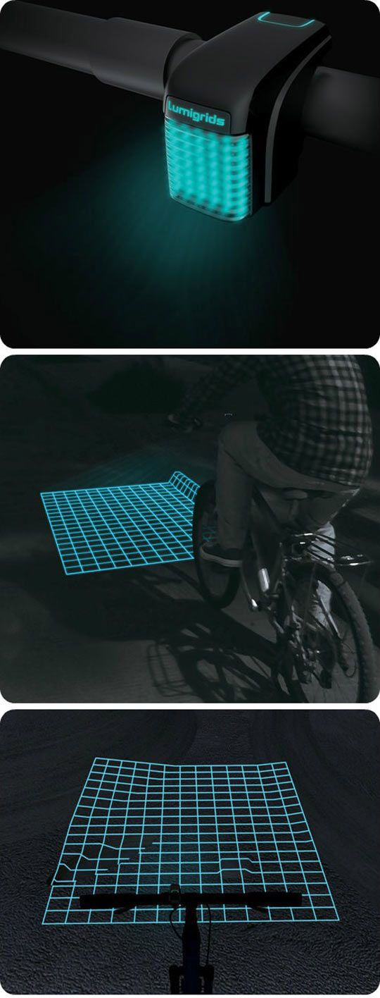 this grid displays in front of the user and highlights any bumps in the ground.