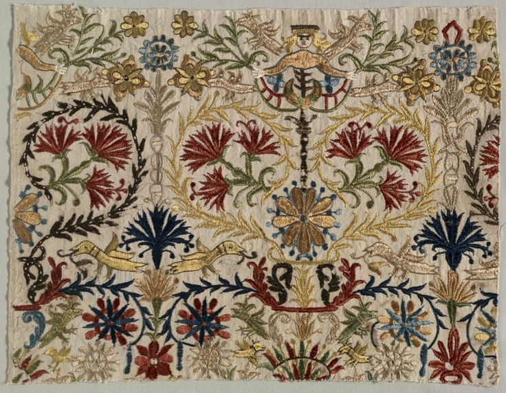 Fragment of a Bed Curtain, 1600s - 1700s Greece, Crete, 17th-18th century embroidery: silk on linen tabby ground,
