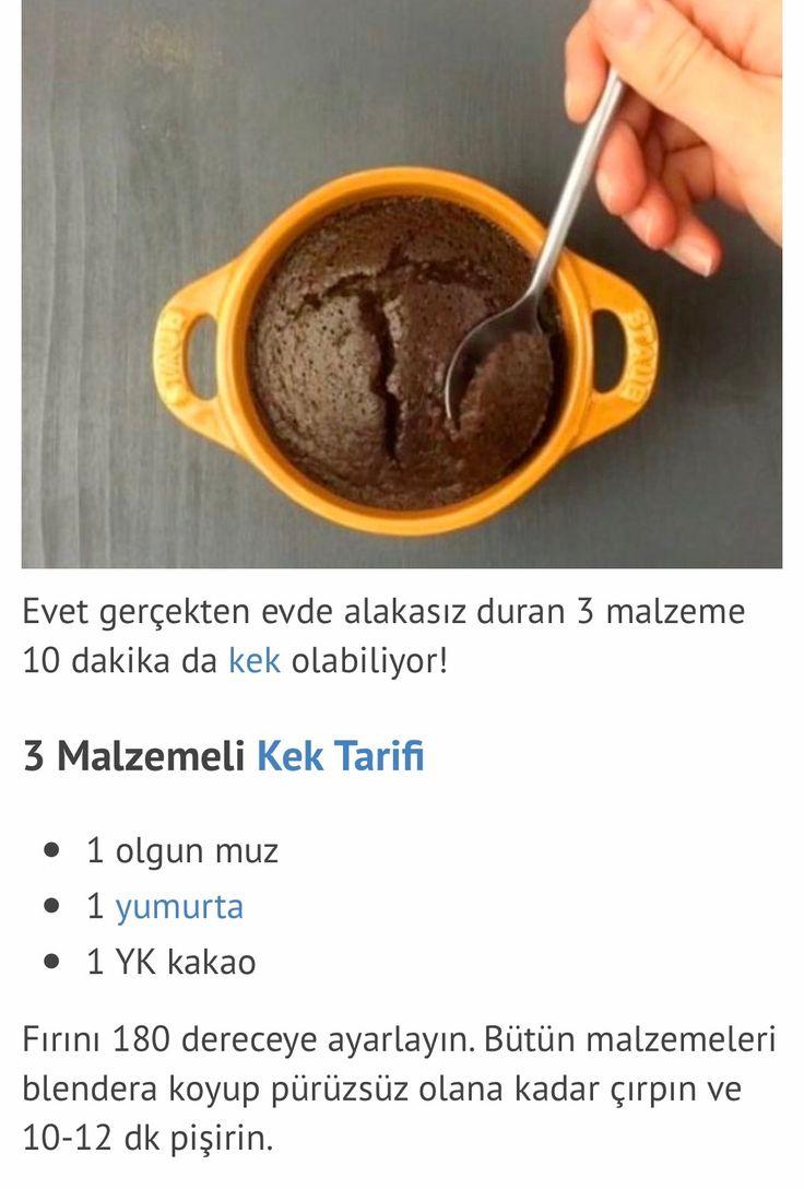 3 malzemeli kakao&muz&yumurta lı kek