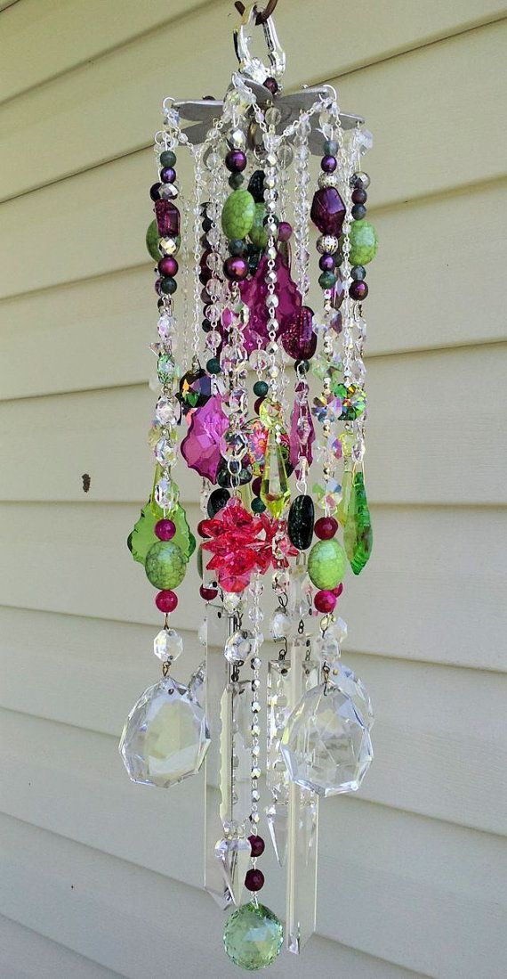 Bohemian Gypsy Love Antique Crystal Wind Chime by sheriscrystals, $249.95
