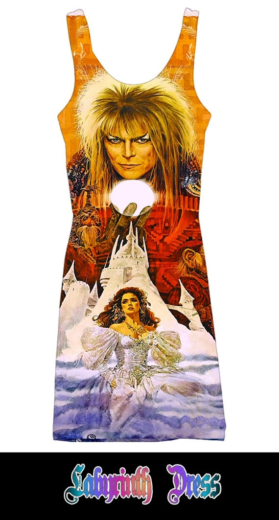 The Labyrinth mystical fantasy David Bowie custom printed fabric dress (LIMITED EDITION). $70.00, via Etsy.