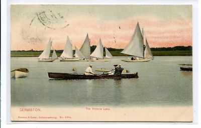 Description: Boating Victoria Lake Germiston South Africa 1907 postcard  Type: undivided back  Condition: excellent, light corner wear.  Any hatched effect is scanner effect, not on actual picture on card.  Postal Use: used, mailed Germiston 19...