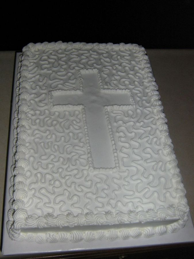This is a 1/3 sheet cake with cornelli lace for the simple decoration.  They wanted a simple designed sheet cake for their celebration.  Thanks for looking.