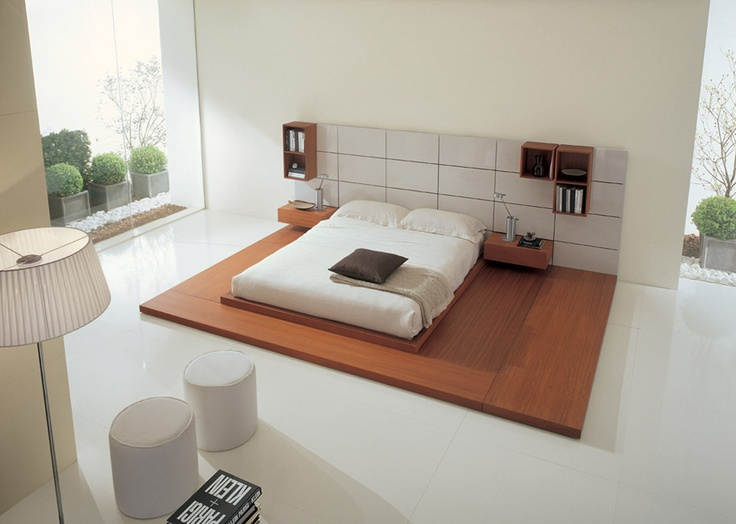 OASI - Bed in walnut finishing and lacquered white  Free positioning accessories. http://www.fimarmobili.com