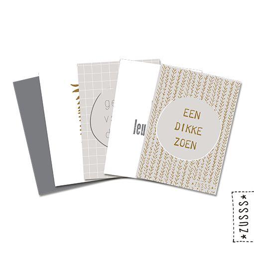 Zusss l Pakje 10 ansichtkaarten met blad en tekst l http://www.zusss.nl/product/ansichtkaarten-blad-tekst/