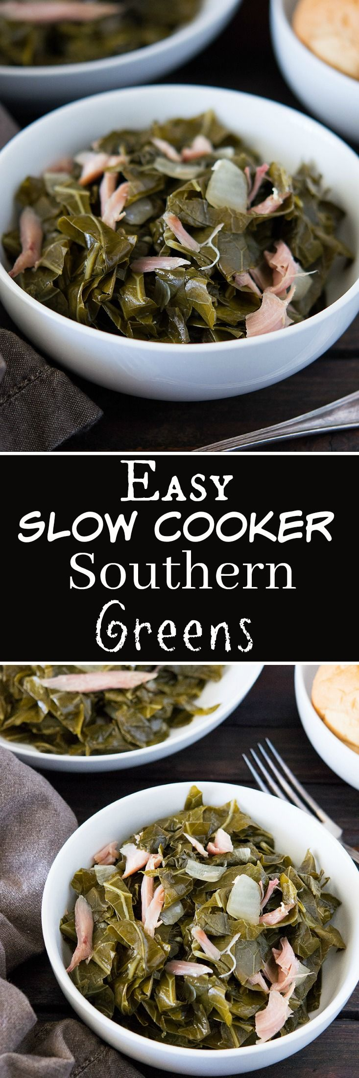 Slow Cooker Southern Collard Greens are just as good as they are made on the stove top in that big ole pot…