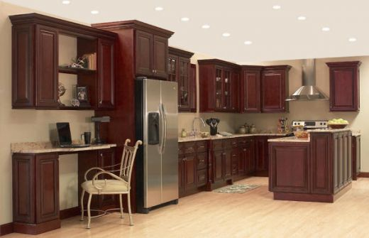 Best Cherry Cabinets With Gray Neutral Walls For The Home 400 x 300