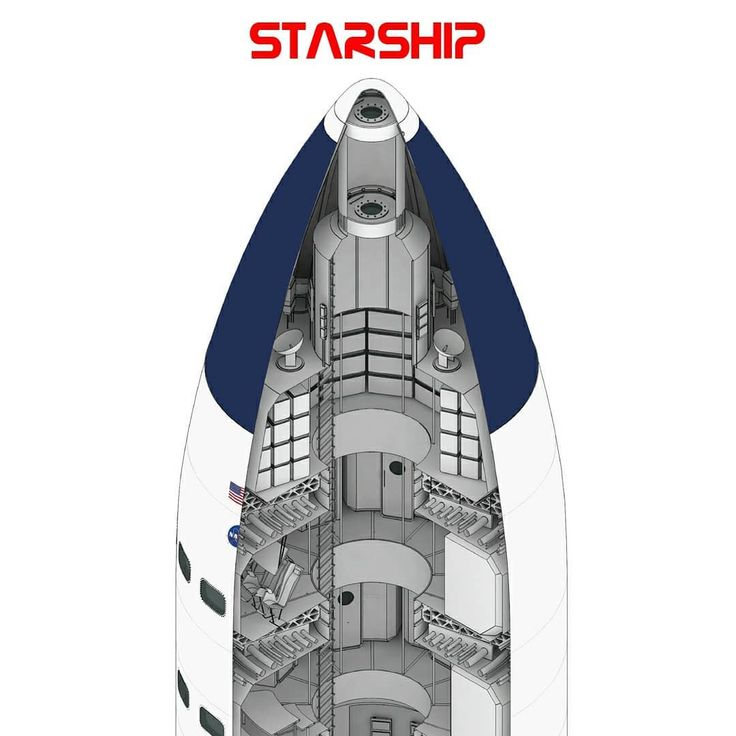 SpaceX's Lunar Starship cutaway diagram by Rocket Posters ...