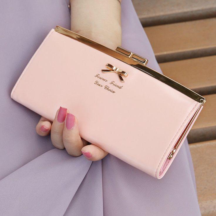2015 nuevas mujeres de la PU del Bowknot botón bolso de mano plegable embrague billetera monedero muchachas de moda ' bolsos de mano envío gratis en Bolsos de Hombro de Bolsos y Maletas en AliExpress.com | Alibaba Group