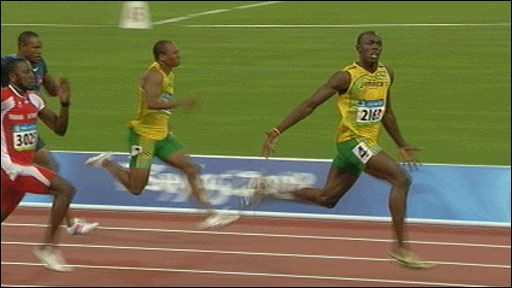 Jamaican Usain Bolt left his rivals trailing to win gold in the Beijing Olympics 100m final with a new world record.