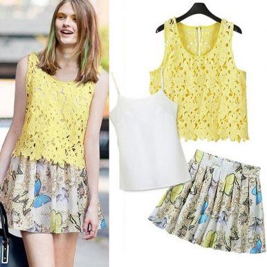 3Pcs Hollow Style Sleeveless T-Shirt Tank Top Print Chiffon Skirt