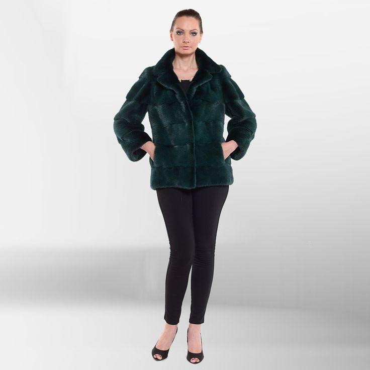 Refresh your wardrobe with a dark green mink fur jacket.