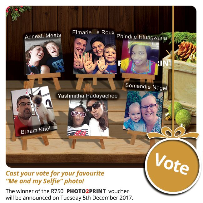 Vote now for our finalists!!! https://contest.fbapp.io/me-and-my-selfie-voting The winner of the R750 gift voucher will be announced on Wednesday 1st November 2017.  #votenow