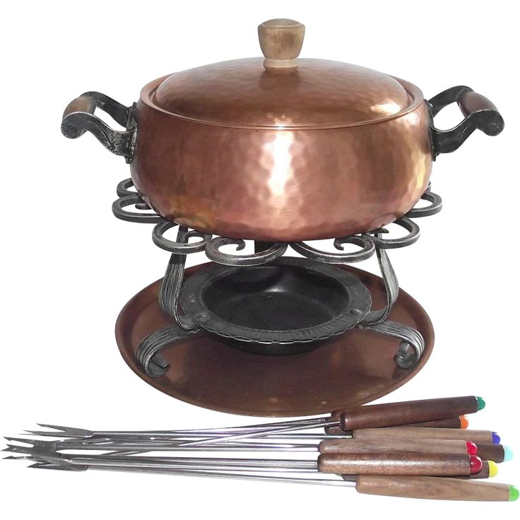 Copper Fondue Pot Stockli Netstal Swiss Made Hand Hammered 1940's