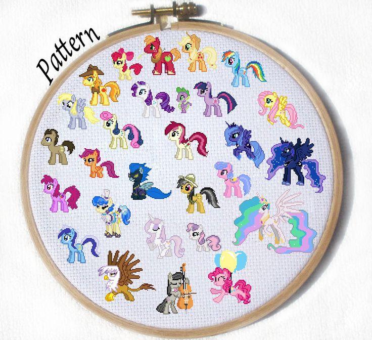 My Little Pony YOU PICK Character Cross Stich Pattern - Beginner level Cross Stitch Patterns. $1.35, via Etsy.
