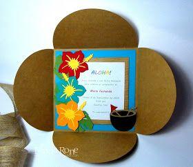 Hola a todos!      En la publicación de hoy les mostraré una invitación para fiesta Hawaiana. Esta invitación es muy colorida y está inspi...