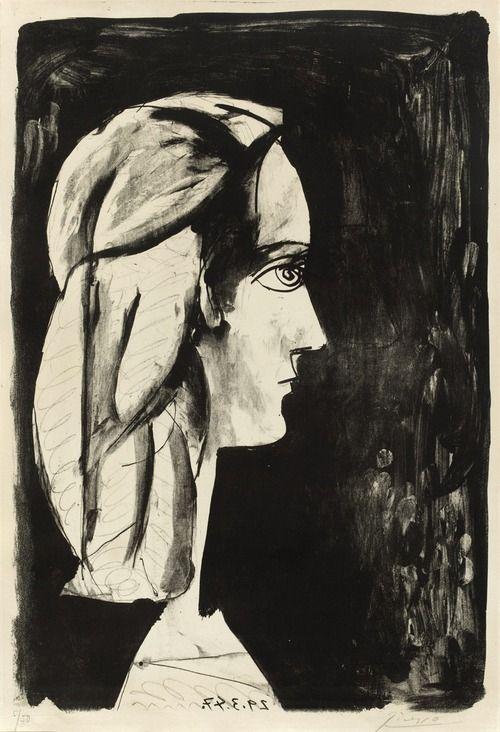 Pablo Picasso - Profil au fond noir, 1947