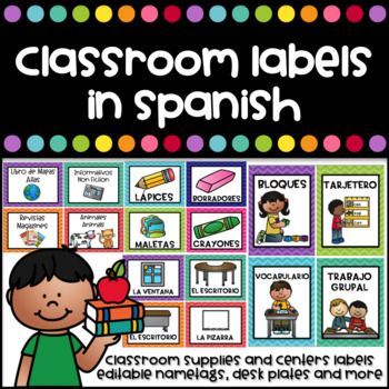 Getting your room ready for school? Check these labels and useful decor products in Spanish for your classroom. This document includes: -School supplies labels in Spanish. 48 Labels measuring 4.93 x 3.71 inches (additional editable labels in 12 colors included)