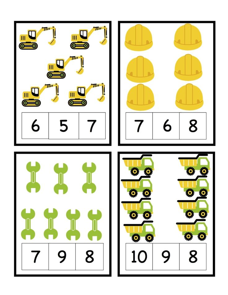 Preschool Printables: Construction printables counting and letters, matching, etc