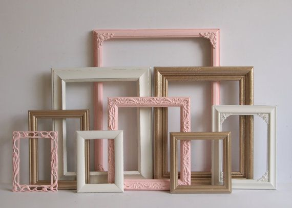 Picture Frames Set - Baby Girl Nursery - Wedding- Pink Gold And White  - Vintage…