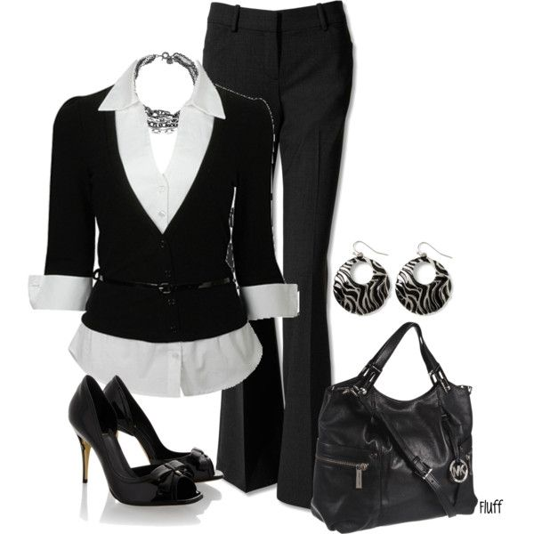 hire me, created by fluffof5 on Polyvore: Work Clothing, Black And White, Fashionista Trends, Black White, Offices Outfits, Work Outfits, Offices Wear, Business Casual, Interview Outfits