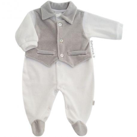 29c0691452f76 Pyjama bébé garçon en velours blanc effet gilet en velours gris fabriqué au  Portugal à 13