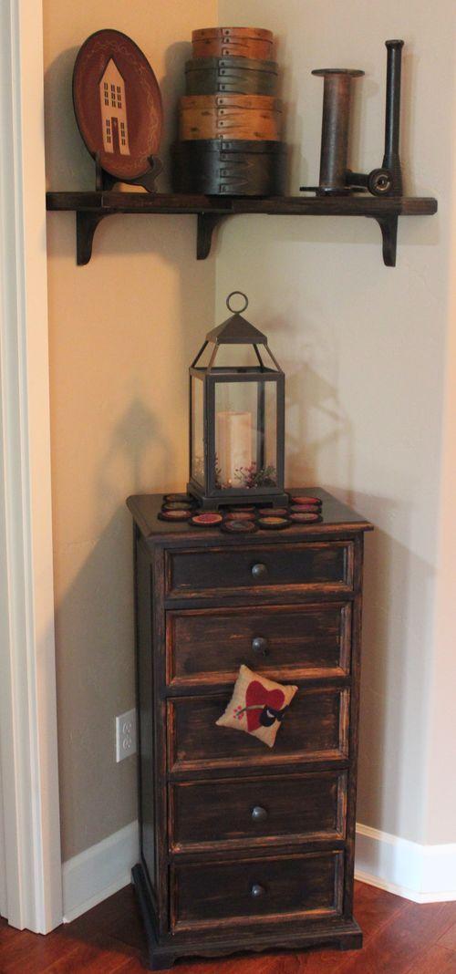 Prim Cupboard/lantern and shelf display