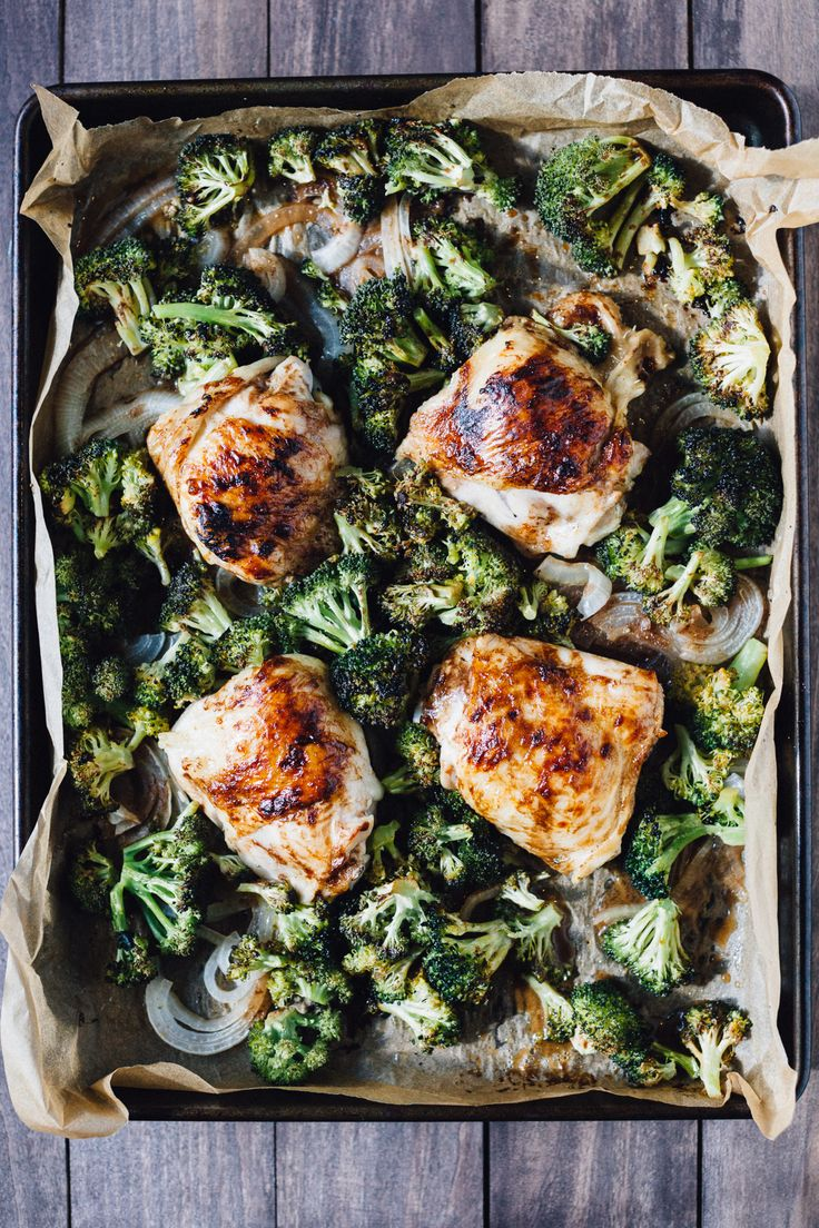 A simple one sheet pan recipe is on the blog now: Balsamic Chicken Thighs with Roasted Broccoli. Easy, quick and delicious!  NewComfortFood AD