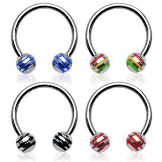 Striped Ball Horseshoe Belly Ring - Circular Barbell Body Jewellery. Find it at www.tummytoys.com.au