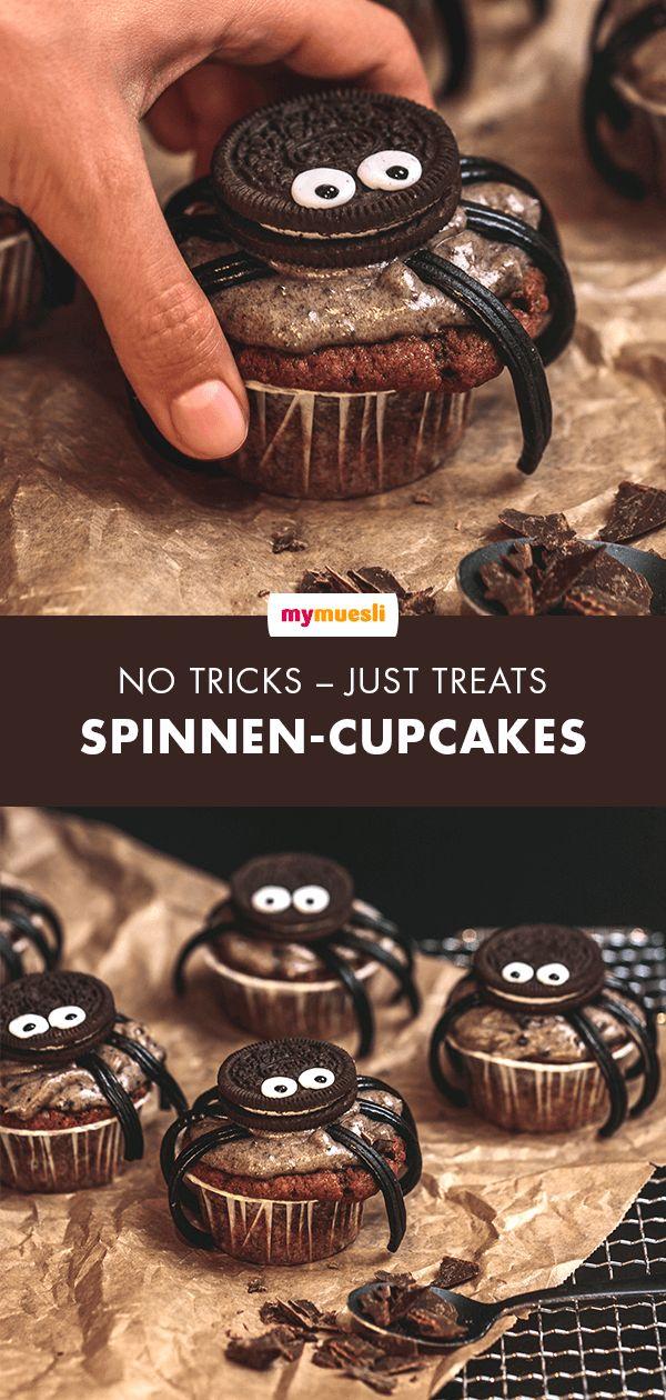 spinnenCupcakes Rezept Halloween rezepte für kinder