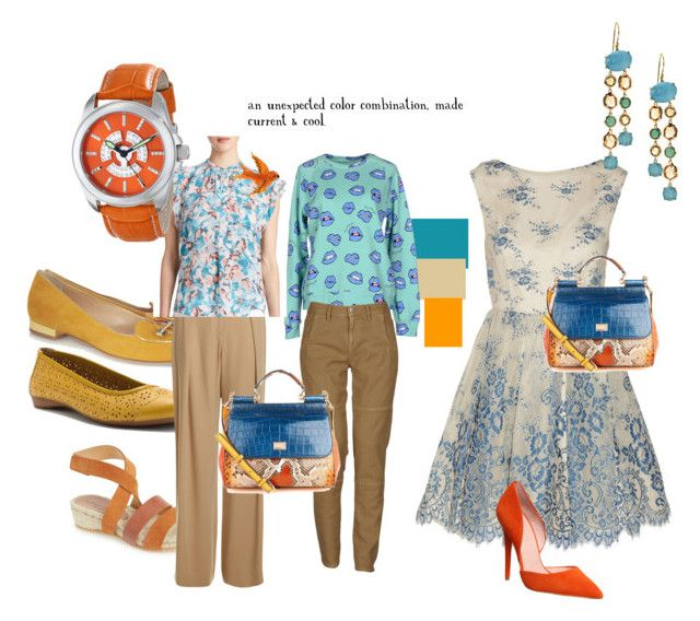 Turquoise/Khaki/Orange by splenderosa on Polyvore featuring Alice + Olivia, Rebecca Taylor, Au Jour Le Jour, Massimo Alba, Charlotte Olympia, Bettye Muller, pluggz, Office, Dolce&Gabbana and Ippolita