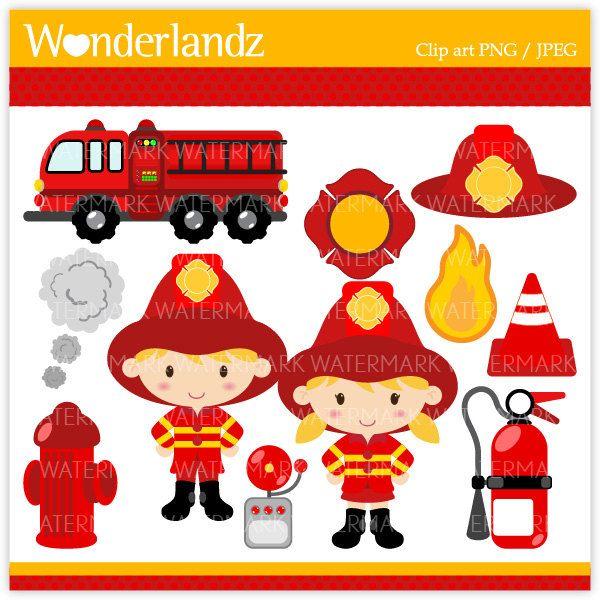 ZA18 Fire Fighter Kids - digital clip art - fireman, firefighter, kids, boys, girls, truck, fire, helmet, fire engine