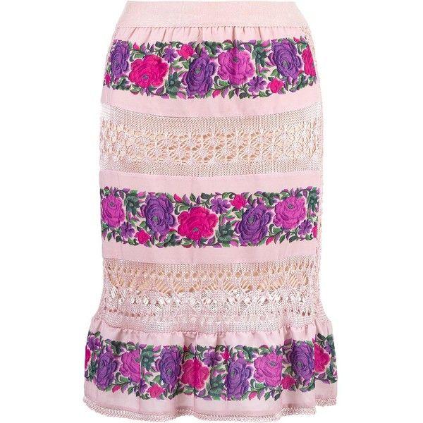 Cecilia Prado midi skirt (255 AUD) ❤ liked on Polyvore featuring skirts, calf length skirts, floral midi skirt, crochet midi skirt, pink midi skirt and floral printed skirt