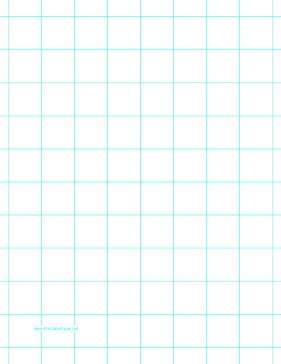 This letter-sized graph paper has one aqua blue line every inch. Free to download and print