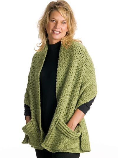 Quick & Easy Cozy Crocheted Wrap with pockets pattern