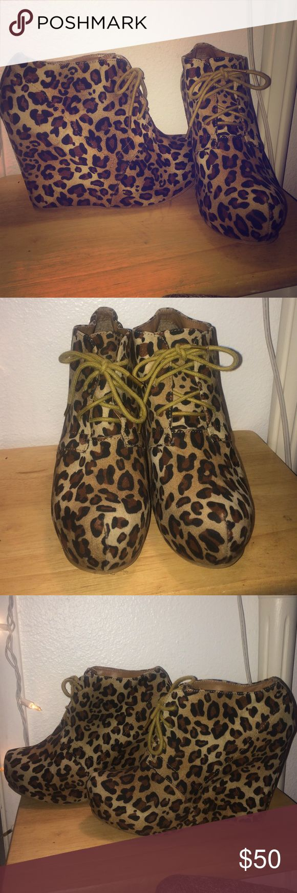 Shoedazzle Leopard Wedges Shoedazzle leopard wedge heels with laces, great condition, never worn. These are unique, chic but with a little funky style! shoedazzle Shoes Wedges