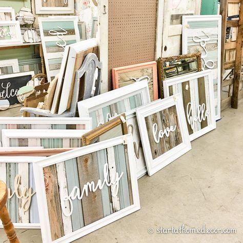 Gesegnete, versammelte, familiäre, liebe und wiederverwendete Holzschilder von Start at Home Decor
