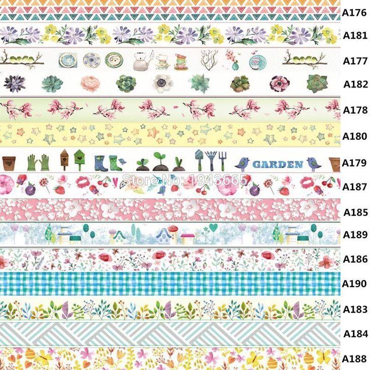 Hot sale 1X 15mm*10m Tape Flowers Print Scrapbooking DIY Sticker Decorative Masking Japanese Washi Tape Paper 10m
