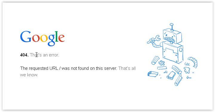 Google - Page not found error message