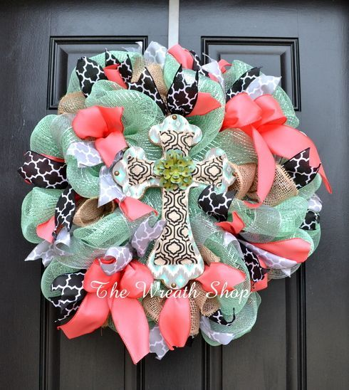 Spring Cross Wreath in Mint, Coral, and Black with Quatrefoil accents, at thewreathshop.com