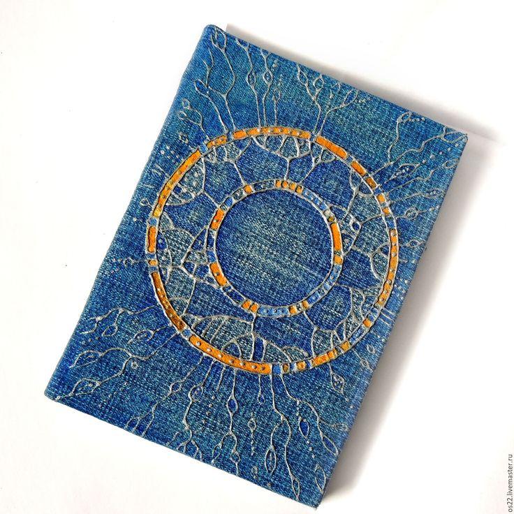 """Купить Скетчбук джинсовый, """"Колесо случая"""" - синий, купить блокнот, роспись по ткани, роспись контурами"""