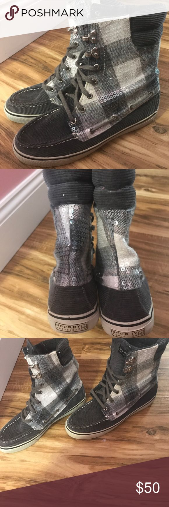 Sperry high tops with sequins! Great condition! Worn less than a handful of times! Sperry Shoes Combat & Moto Boots