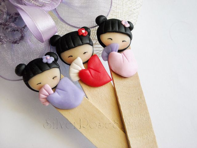 polymer clay - cute geisha bookmarks